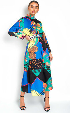 View the Rielle Belted Print Maxi Dress online at iKrush