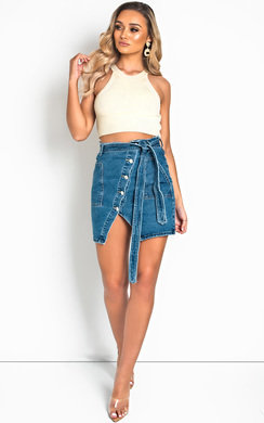 View the Riley High-Waisted Belted Frayed Denim Skirt online at iKrush