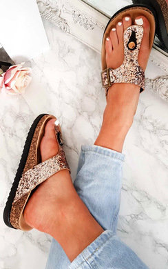 View the Rissa Sequin Cork T-Bar Sandals  online at iKrush