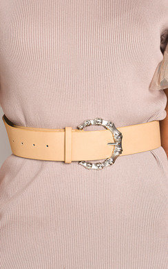 View the Rita Faux Leather Round Buckle Belt online at iKrush