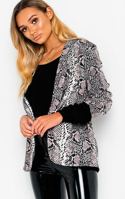 View the Rita Slim Fit Snake Blazer Jacket  online at iKrush