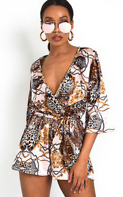 View the Rix Printed Tie Waist Playsuit online at iKrush