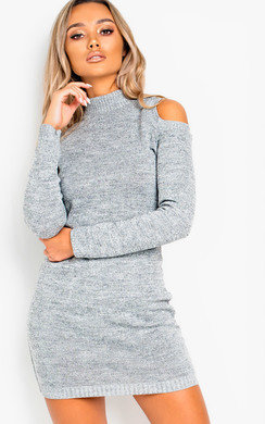 View the Rizz Oversized Cold Shoulder Jumper Dress online at iKrush