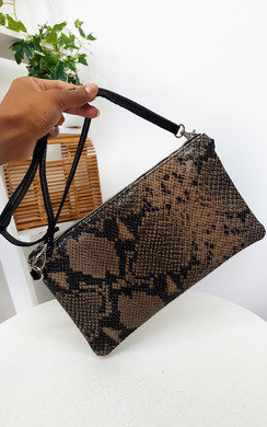 View the Robbie Snake Print Clutch Bag online at iKrush