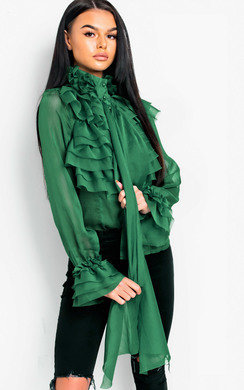 View the Roisin Ruffle Tie Neck Blouse online at iKrush