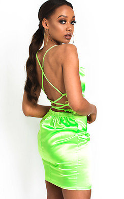 View the Roisin Satin Backless Mini Dress online at iKrush