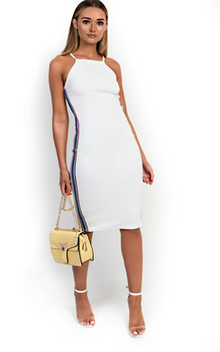 View the Romi Striped Bodycon Midi Dress online at iKrush