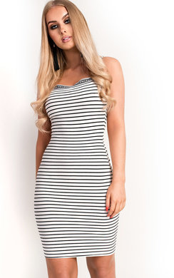 View the Romy Ribbed Striped Mini Dress online at iKrush