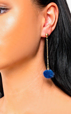 View the Ronnie Drop Pom Earrings in Navy online at iKrush