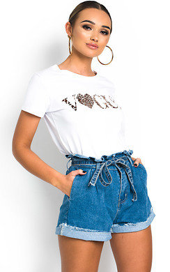 View the Roselle Tie Waist Denim Shorts online at iKrush