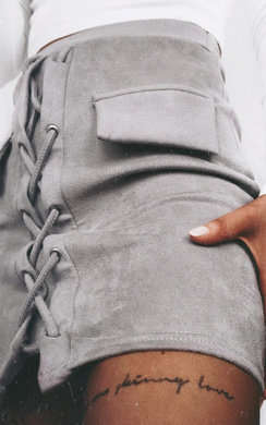 View the Rosie Lace Up Faux Suede Skirt online at iKrush