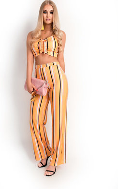 View the Rosie Stripe Wide Legged Co-ord  online at iKrush