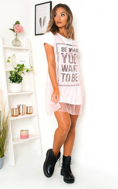 View the Roxanne Slogan Tulle T-Shirt Dress online at iKrush