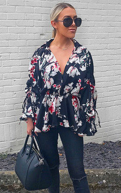 View the Rozz Floral Peplum Blouse  online at iKrush