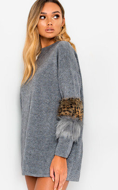View the Rubie Faux Fur Embellished Jumper Dress online at iKrush