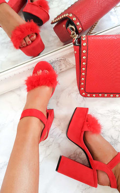 View the Ruby Feather Peep Toe Platform Heels online at iKrush