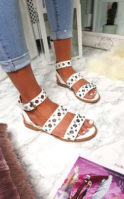 View the Ruby Strappy Studded Buckled Sandals online at iKrush