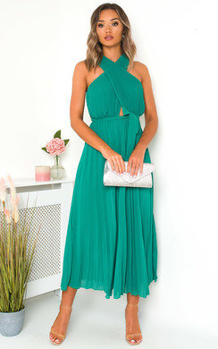View the Ryanna Pleated Crossover Maxi Dress online at iKrush