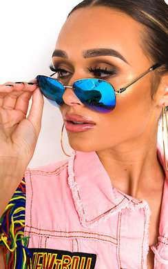 View the Sabrina Blue Lense Aviator Sunglasses online at iKrush