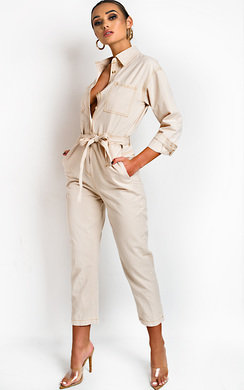 View the Sage Tie Waist Button Up Utility Jumpsuit online at iKrush