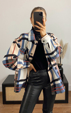 Sally Checked Over Shirt Jacket in Blush