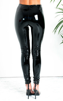 View the Sally High Shine PU Trousers online at iKrush