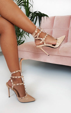 View the Sam Studded Ankle Strap Court Heels  online at iKrush