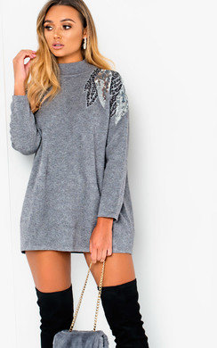 View the Sammie High Neck Knitted Jumper Dress online at iKrush