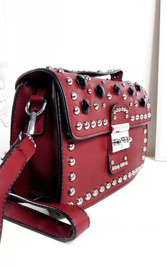 View the Sammy Faux Leather Studded Shoulder Bag online at iKrush
