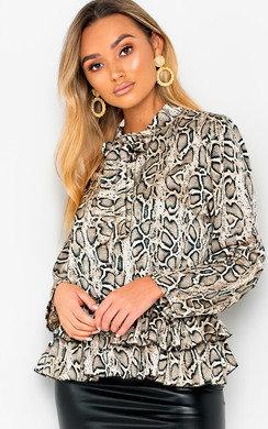 View the Sandi Tie Neck Frill Hem Print Blouse Shirt online at iKrush