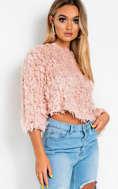 View the Sandy Feather Knit Cropped Jumper online at iKrush