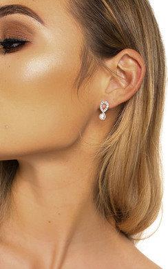 View the Sara Pearl Drop Diamante Earrings  online at iKrush
