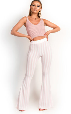 View the Sara Ribbed Flared Trousers online at iKrush