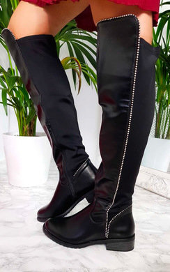 View the Sarah Studded Knee High Boots online at iKrush
