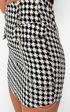 View the Sasha Gingham Chain Detail Skirt  online at iKrush