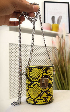 View the Sasha Mini Cylinder Croc Print Clutch Bag online at iKrush