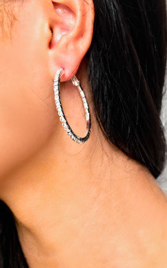 View the Saskia Diamante Hoop Earrings  online at iKrush