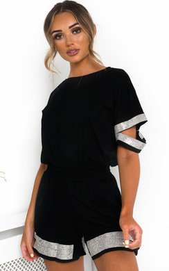 View the Saskia Diamante T-Shirt and Shorts Co-ord  online at iKrush