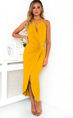 View the Savannah Ring Detail Split Midi Dress online at iKrush