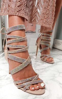 View the Scarlett Lace Up Diamante Peep Toe Heels  online at iKrush