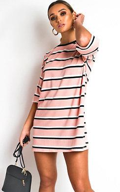 View the Scarlett Striped Oversized T-Shirt Dress online at iKrush