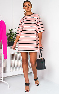 View the Scarlett Striped Oversized T-Shirt Dress online at iKrush