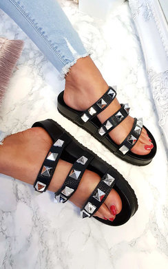 View the Scarlett Triple Studded Sliders  online at iKrush