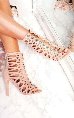 View the Selena Caged Faux Suede Heels  online at iKrush