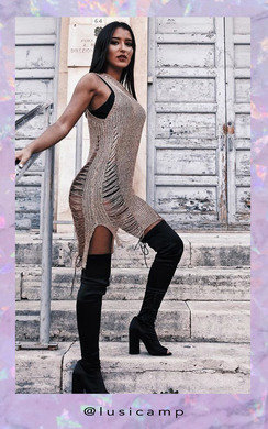 View the Selena Metallic Knit Mini Cover Up  online at iKrush