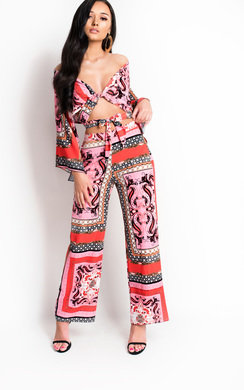 View the Sellis Paisley Print High Waisted Trousers online at iKrush