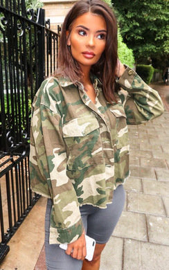 View the Serena Camo Denim Jacket online at iKrush