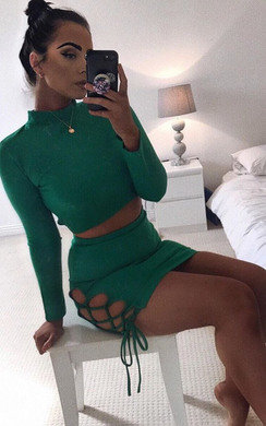 View the Serena Lace Up Bodycon Co-Ord online at iKrush