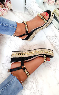 View the Seritta Studded Strap Wedge Sandals online at iKrush