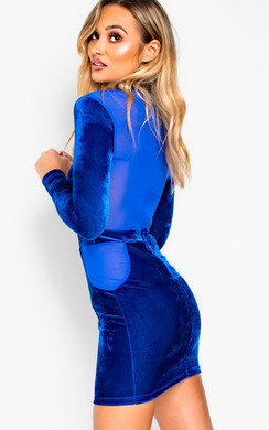 View the Shalonne Mesh Paneled Bodycon Dress online at iKrush